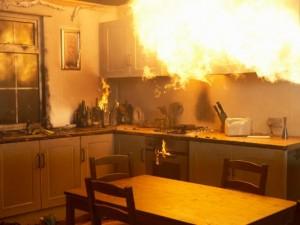 FIre raging in kitchen