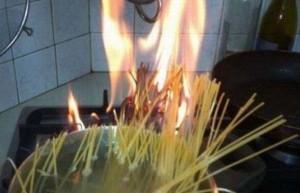 spaghetti on fire